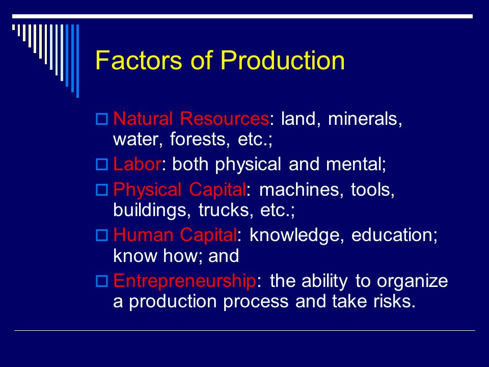 Factors of Production  Natural Resources: land, minerals, water, forests, etc.;  Labor: both physical and mental;  Physical Capital: machines, tools, buildings, trucks, etc.;  Human Capital: knowledge, education; know how; and  Entrepreneurship: the ability to organize a production process and take risks.