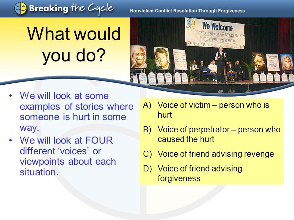 What would you do. We will look at some examples of stories where someone is hurt in some way.