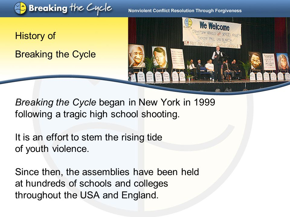 History of Breaking the Cycle Breaking the Cycle began in New York in 1999 following a tragic high school shooting. It is an effort to stem the rising