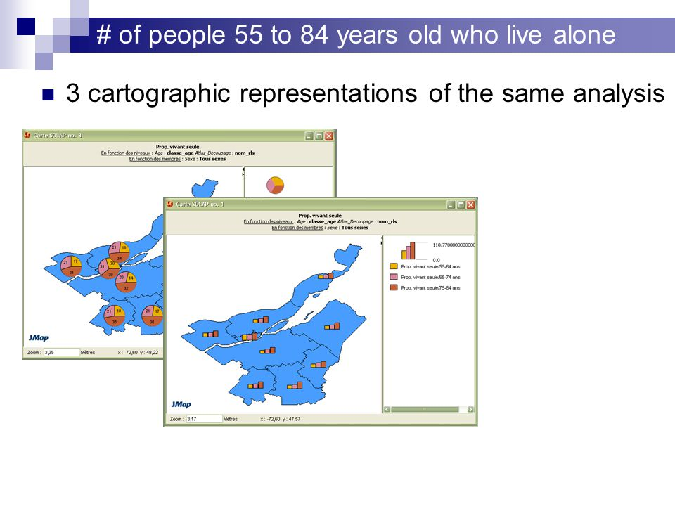 # of people 55 to 84 years old who live alone 3 cartographic representations of the same analysis