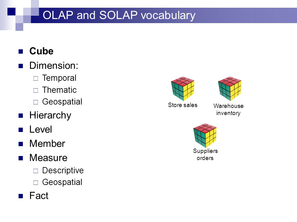 OLAP and SOLAP vocabulary Cube Dimension:  Temporal  Thematic  Geospatial Hierarchy Level Member Measure  Descriptive  Geospatial Fact Store sales Warehouse inventory Suppliers orders