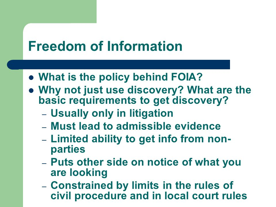 How is FOIA different from discovery in litigation.