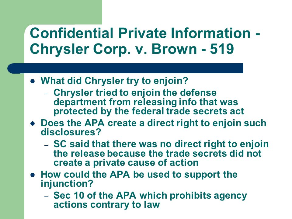 Confidential Private Information - Chrysler Corp. v.