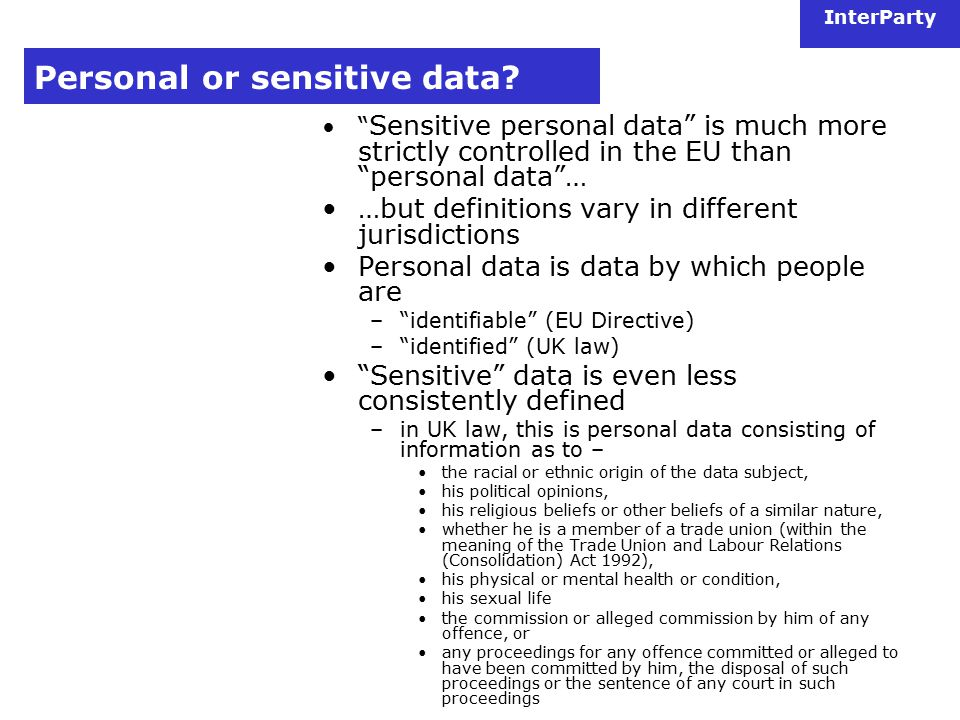 InterParty Personal or sensitive data.