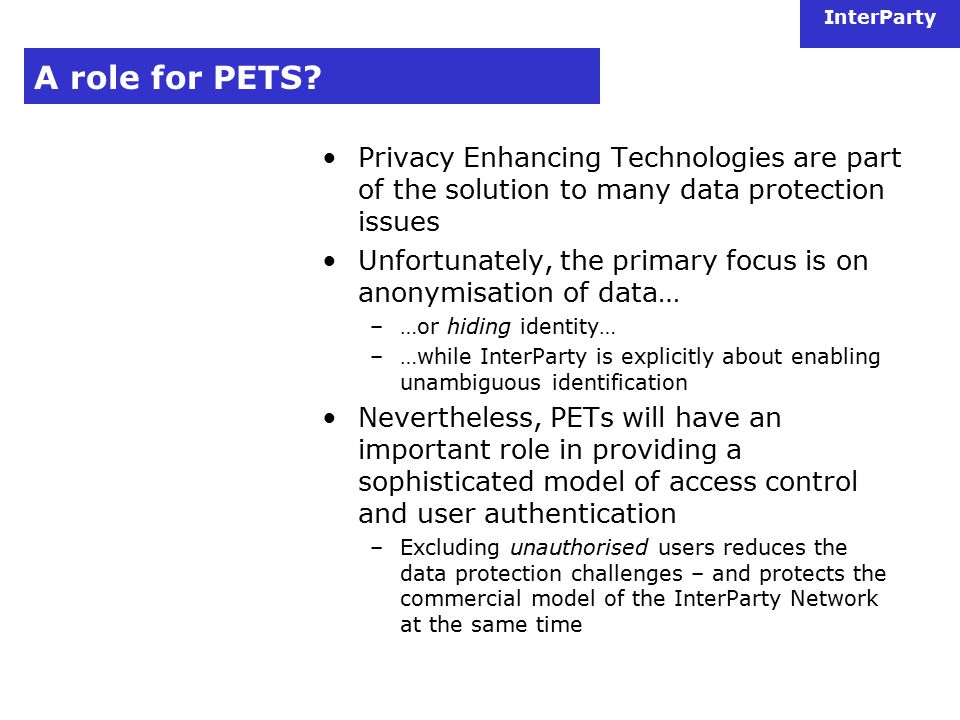 InterParty A role for PETS.