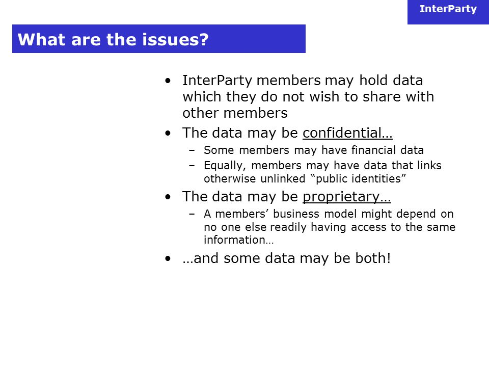 InterParty What are the issues.