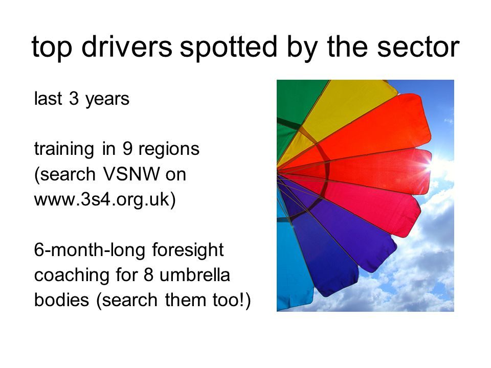 top drivers spotted by the sector last 3 years training in 9 regions (search VSNW on   6-month-long foresight coaching for 8 umbrella bodies (search them too!)