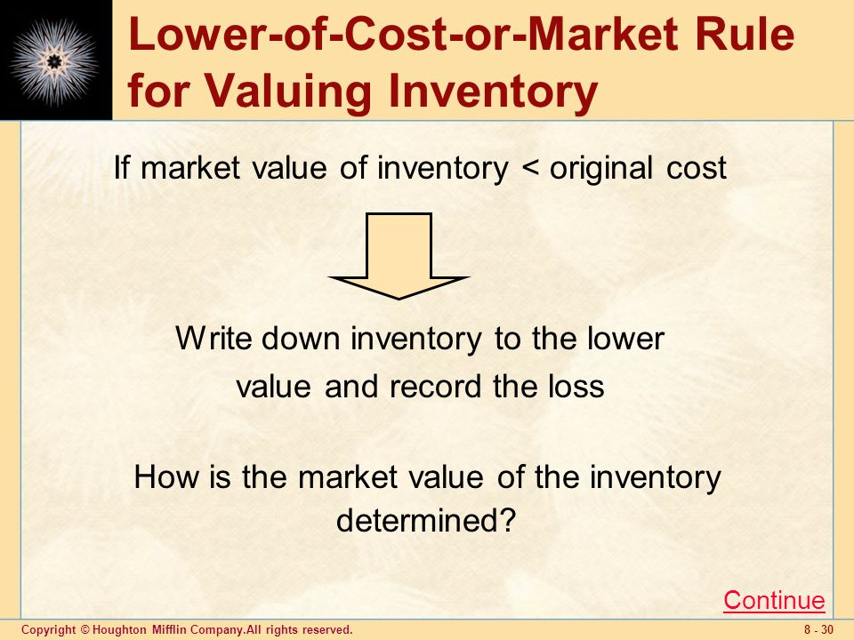 Copyright © Houghton Mifflin Company.All rights reserved Lower-of-Cost-or-Market Rule for Valuing Inventory Write down inventory to the lower value and record the loss If market value of inventory < original cost How is the market value of the inventory determined.
