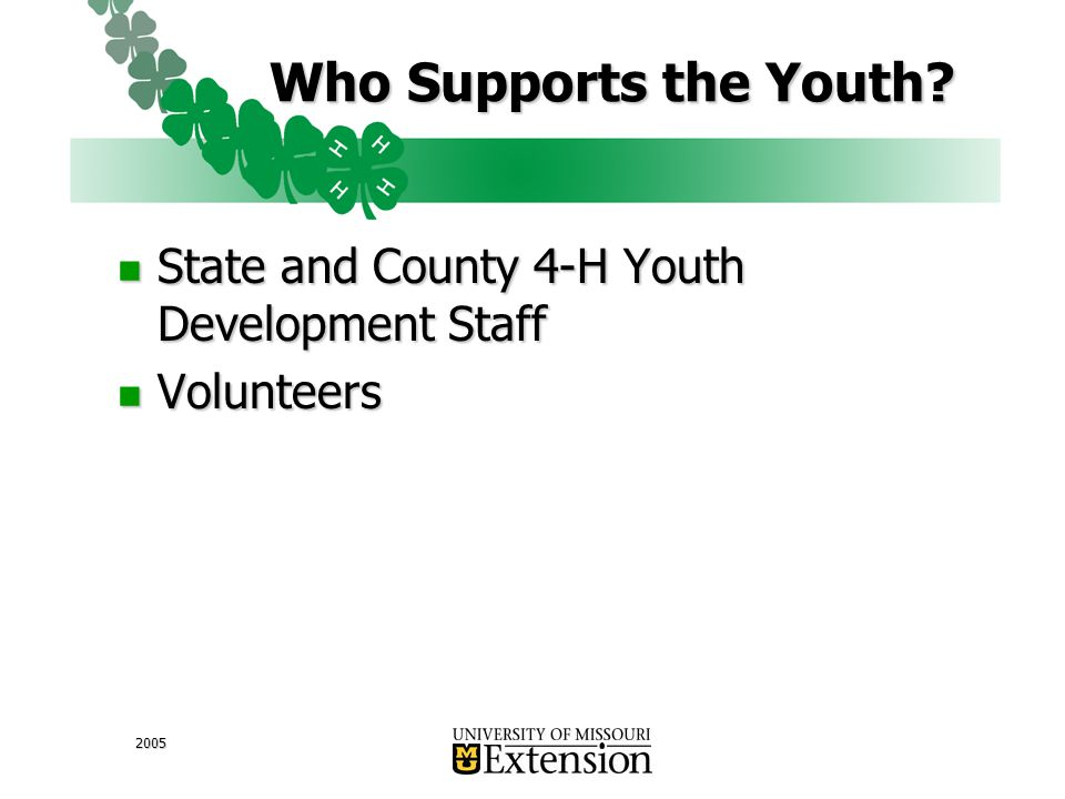 2005 Who Supports the Youth.