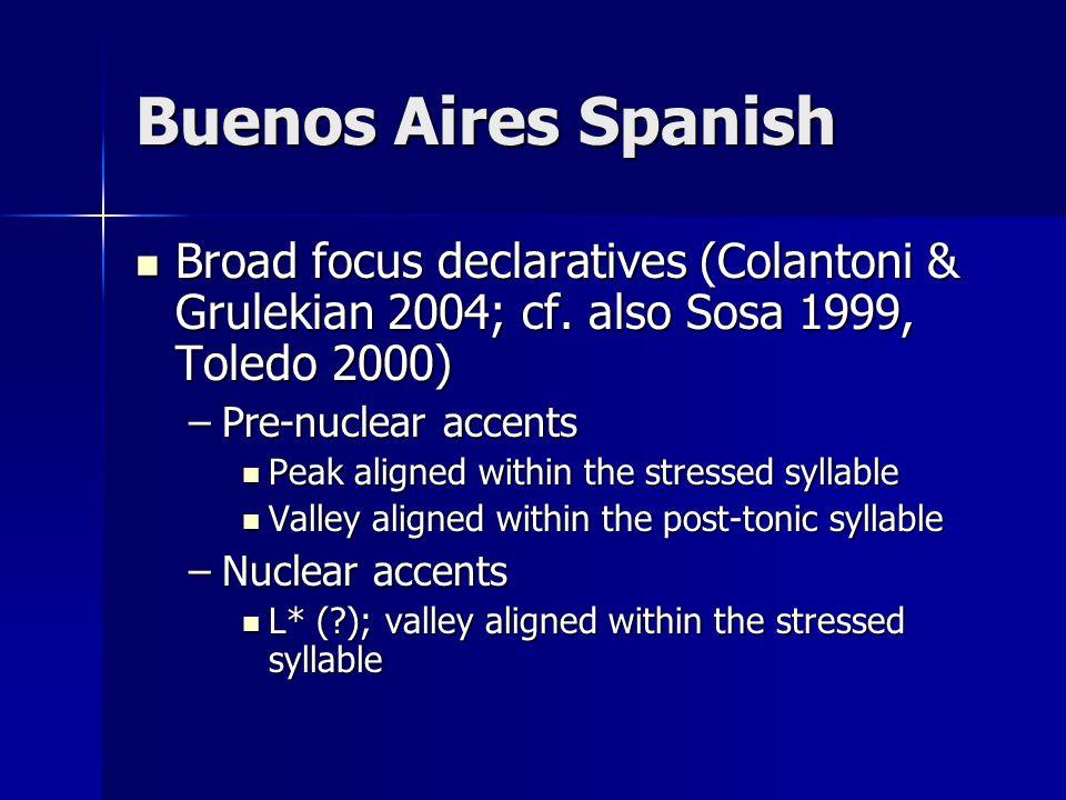 Buenos Aires Spanish Broad focus declaratives (Colantoni & Grulekian 2004; cf.