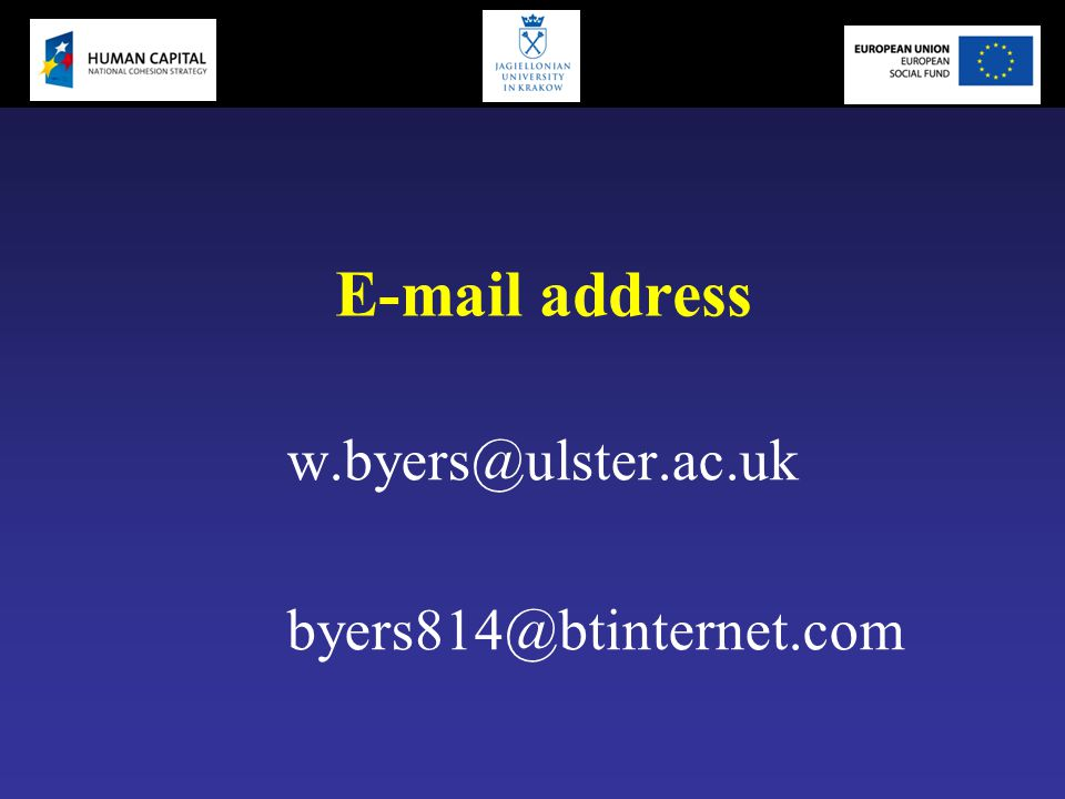 E-mail address w.byers@ulster.ac.uk byers814@btinternet.com