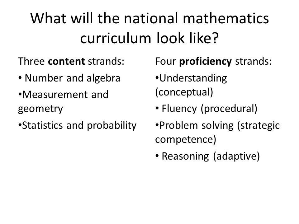 What will the national mathematics curriculum look like.