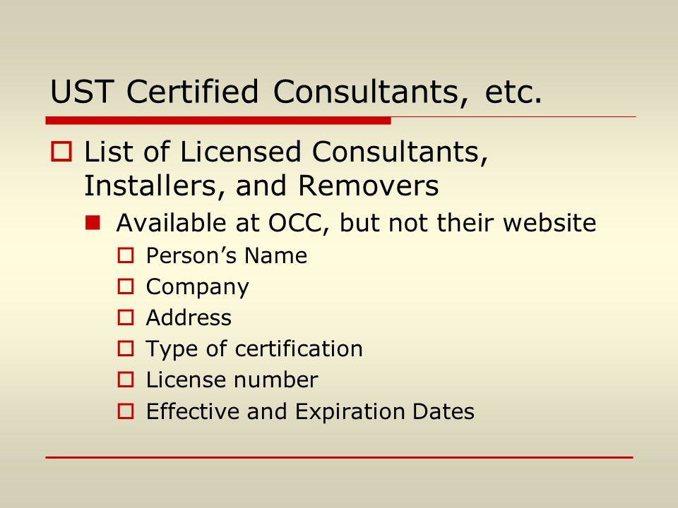 UST Certified Consultants, etc.
