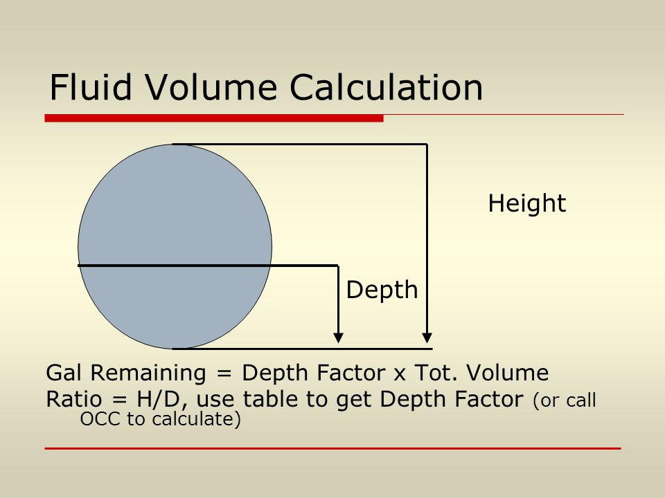 Fluid Volume Calculation Height Depth Gal Remaining = Depth Factor x Tot. Volume Ratio = H/D, use table to get Depth Factor (or call OCC to calculate)