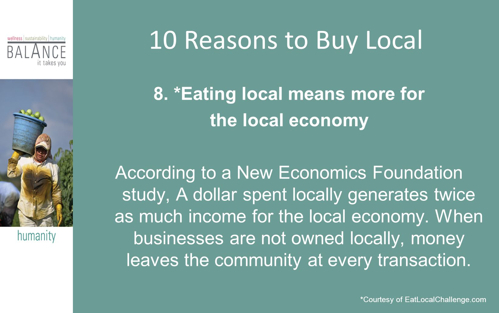 8. *Eating local means more for the local economy According to a New Economics Foundation study, A dollar spent locally generates twice as much income