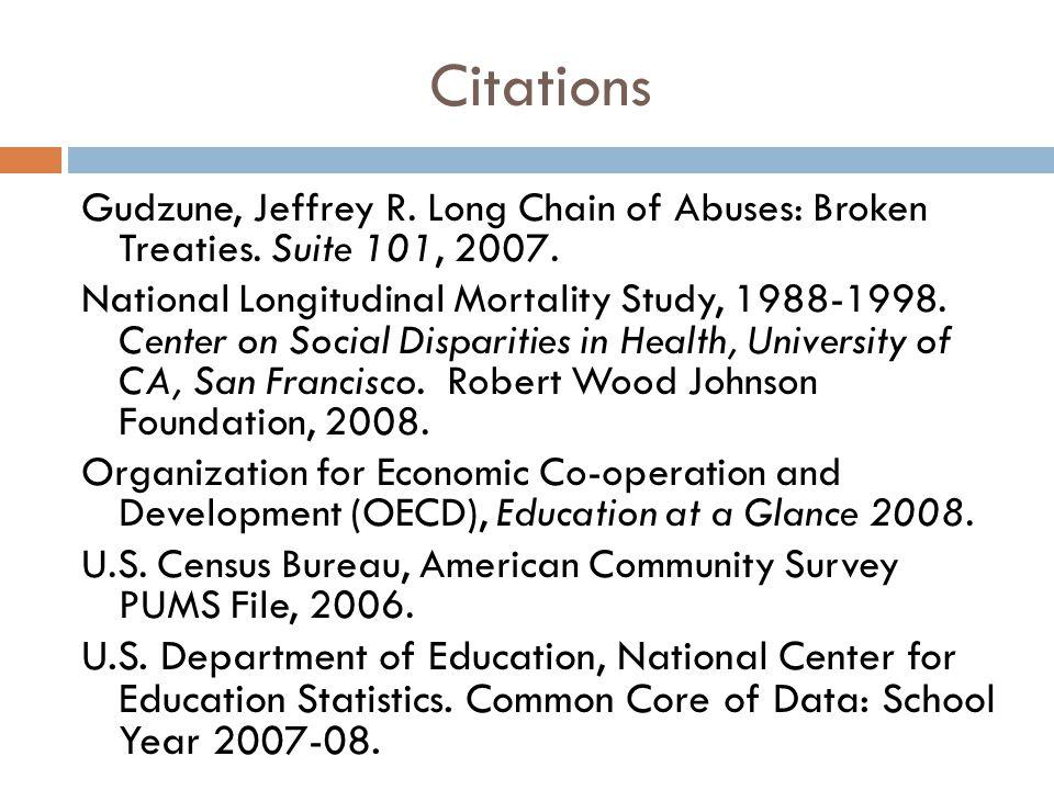 Citations Gudzune, Jeffrey R. Long Chain of Abuses: Broken Treaties. Suite 101, 2007. National Longitudinal Mortality Study, 1988-1998. Center on Soci