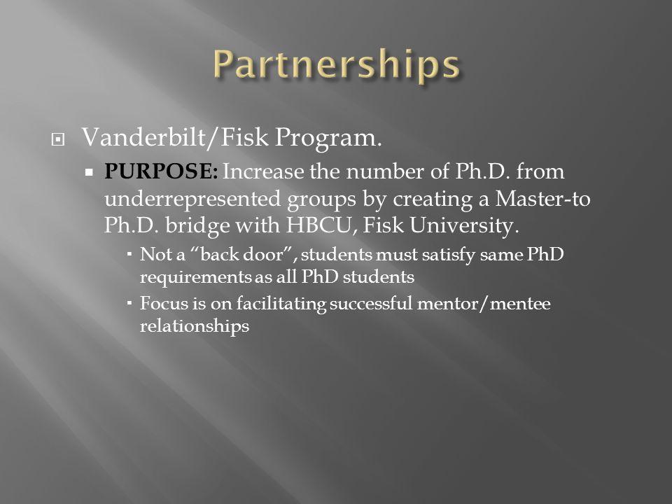  Vanderbilt/Fisk Program.  PURPOSE: Increase the number of Ph.D.