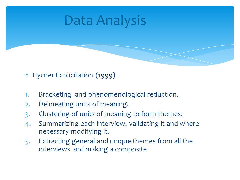  Hycner Explicitation (1999) 1.Bracketing and phenomenological reduction.