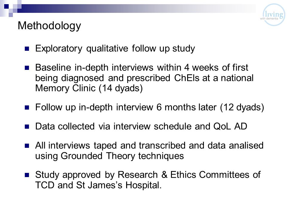 Methodology Exploratory qualitative follow up study Baseline in-depth interviews within 4 weeks of first being diagnosed and prescribed ChEls at a national Memory Clinic (14 dyads) Follow up in-depth interview 6 months later (12 dyads) Data collected via interview schedule and QoL AD All interviews taped and transcribed and data analised using Grounded Theory techniques Study approved by Research & Ethics Committees of TCD and St James's Hospital.