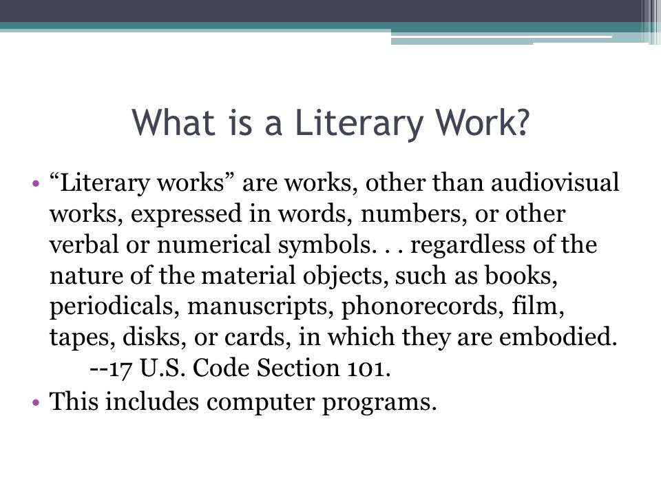 What is a Literary Work.