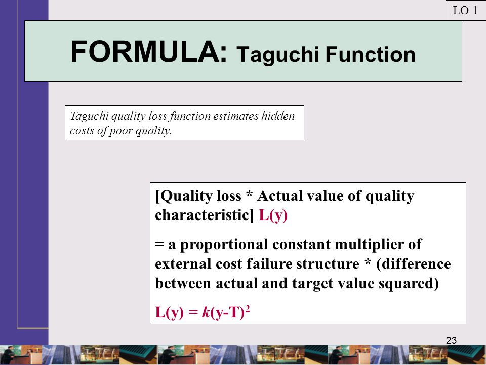 23 FORMULA: Taguchi Function Taguchi quality loss function estimates hidden costs of poor quality.