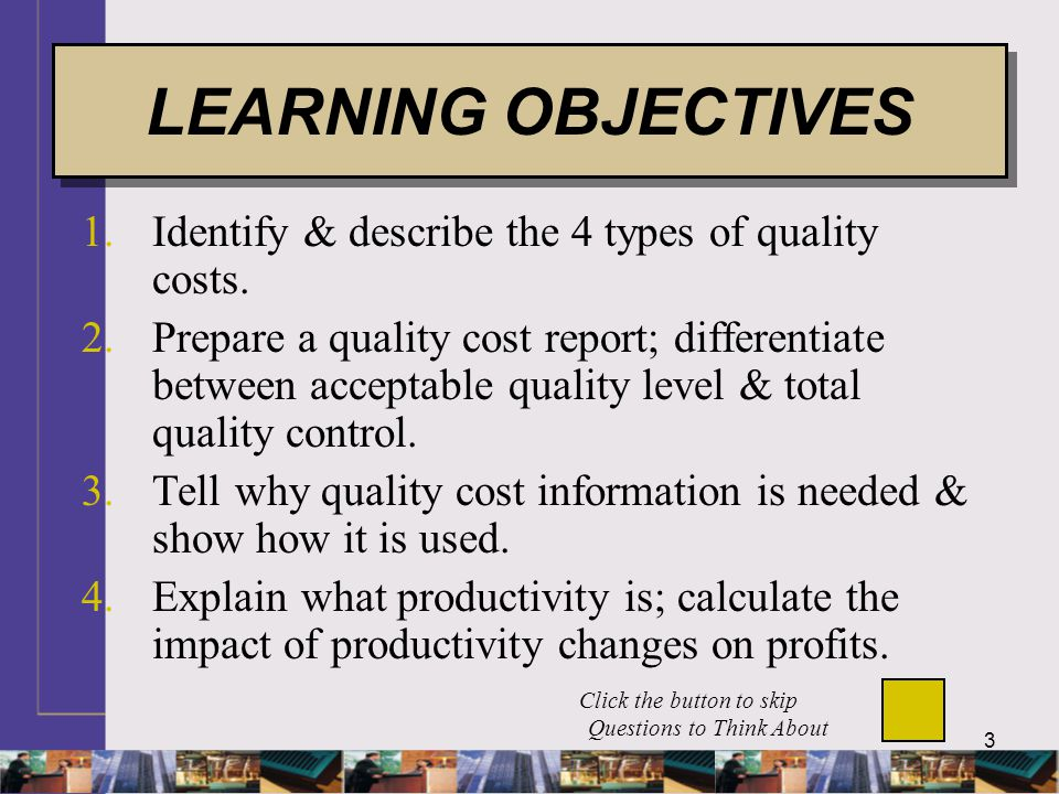 34 AQL QUALITY COST GRAPH LO 2 EXHIBIT 15-6 Control costs decrease as percentage of defects decreases.