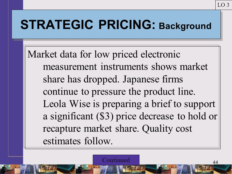 44 STRATEGIC PRICING: Background Market data for low priced electronic measurement instruments shows market share has dropped.