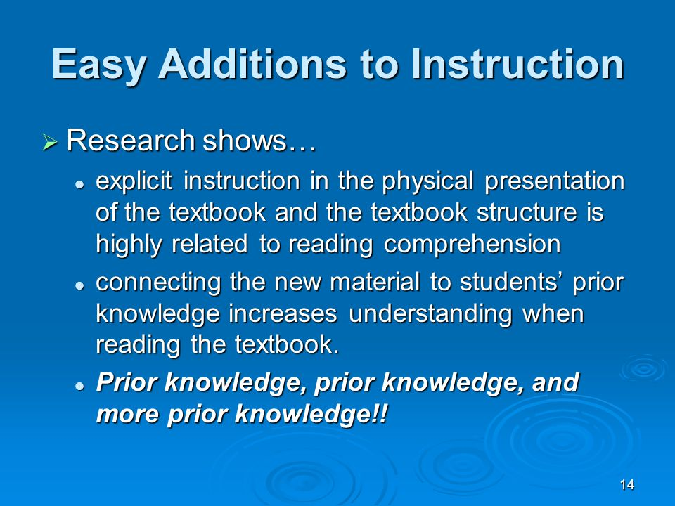 14 Easy Additions to Instruction  Research shows… explicit instruction in the physical presentation of the textbook and the textbook structure is highly related to reading comprehension explicit instruction in the physical presentation of the textbook and the textbook structure is highly related to reading comprehension connecting the new material to students' prior knowledge increases understanding when reading the textbook.