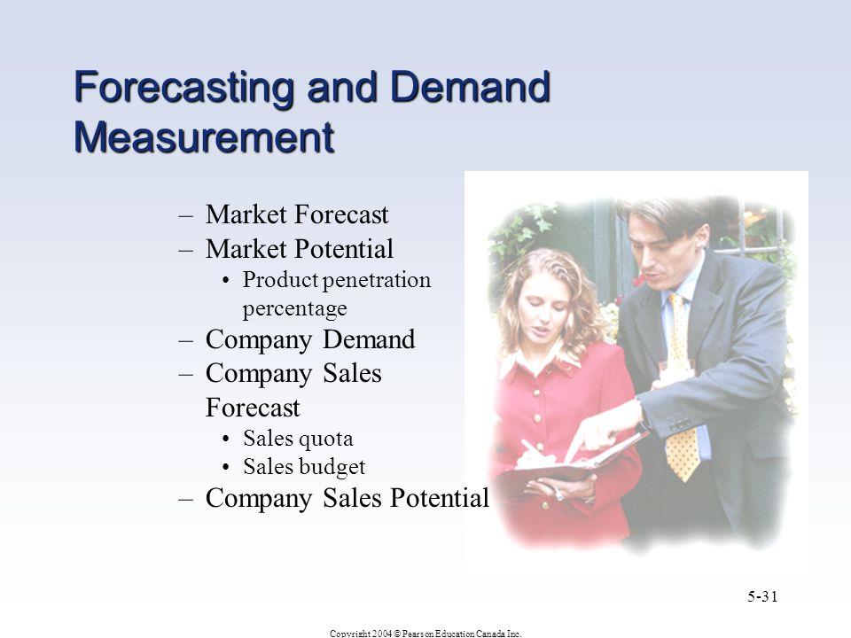 Copyright 2004 © Pearson Education Canada Inc. 5-31 Forecasting and Demand Measurement –Market Forecast –Market Potential Product penetration percenta