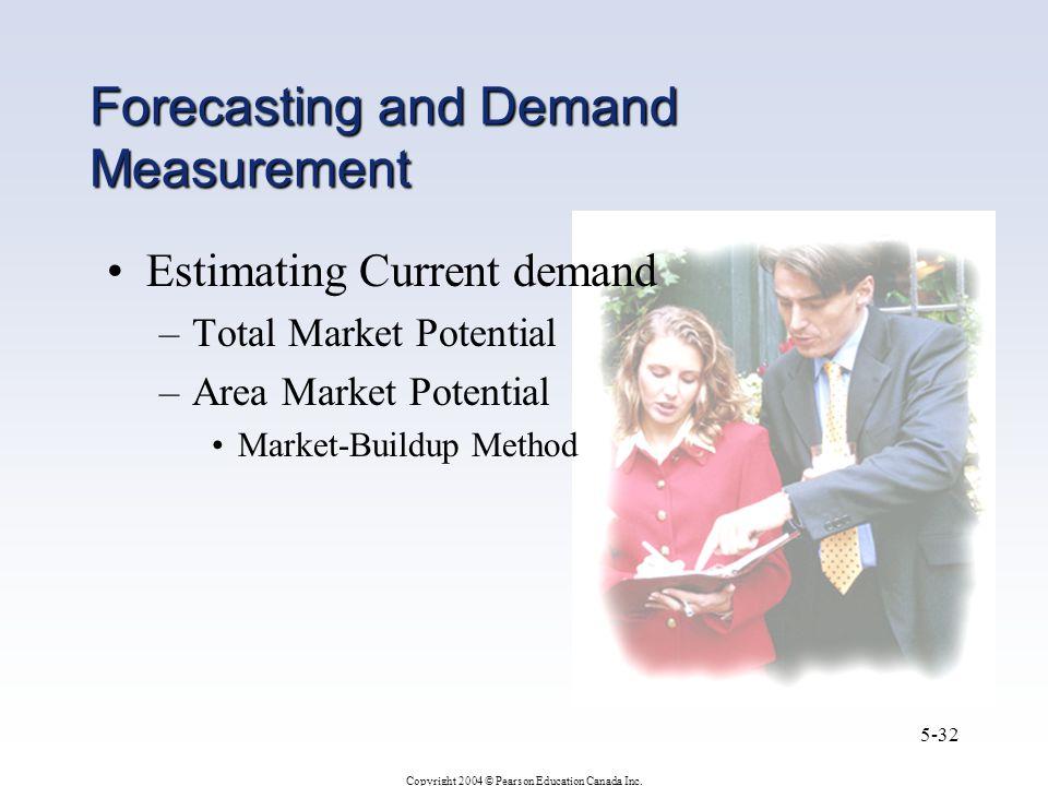 Copyright 2004 © Pearson Education Canada Inc. 5-32 Estimating Current demand –Total Market Potential –Area Market Potential Market-Buildup Method For