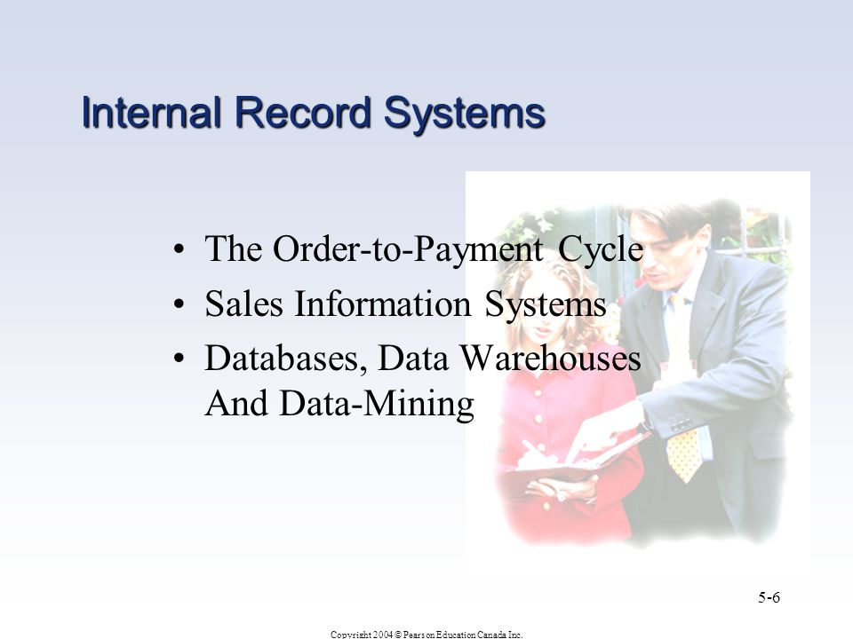 Copyright 2004 © Pearson Education Canada Inc. 5-6 Internal Record Systems The Order-to-Payment Cycle Sales Information Systems Databases, Data Wareho