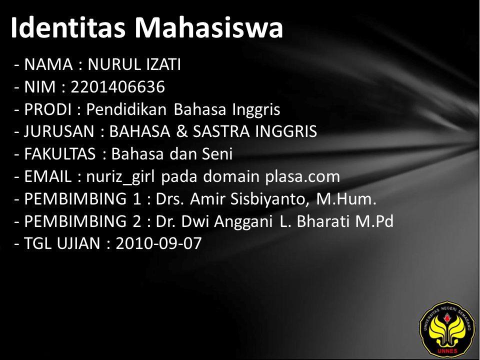 Identitas Mahasiswa - NAMA : NURUL IZATI - NIM : 2201406636 - PRODI : Pendidikan Bahasa Inggris - JURUSAN : BAHASA & SASTRA INGGRIS - FAKULTAS : Bahasa dan Seni - EMAIL : nuriz_girl pada domain plasa.com - PEMBIMBING 1 : Drs.
