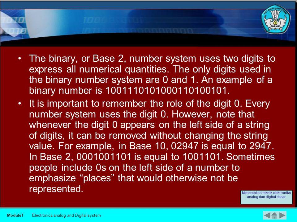 Binary Number System Module1Electronica analog and Digital system Menerapkan teknik elektronika analog dan digital dasar