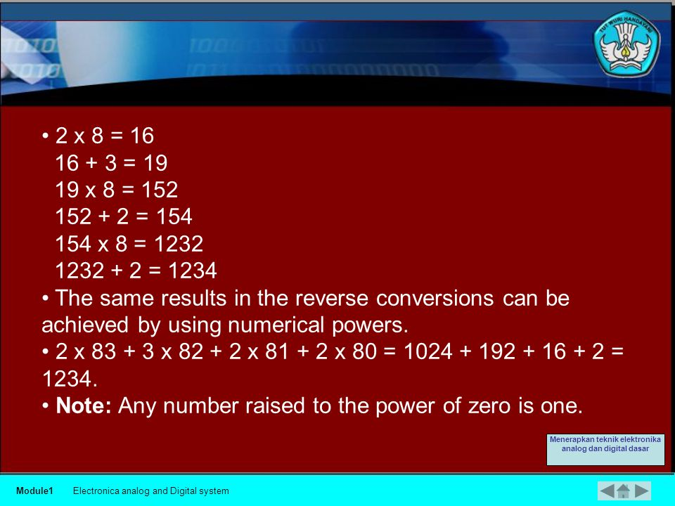 Example Convert the number 1234 in decimal and to octal.