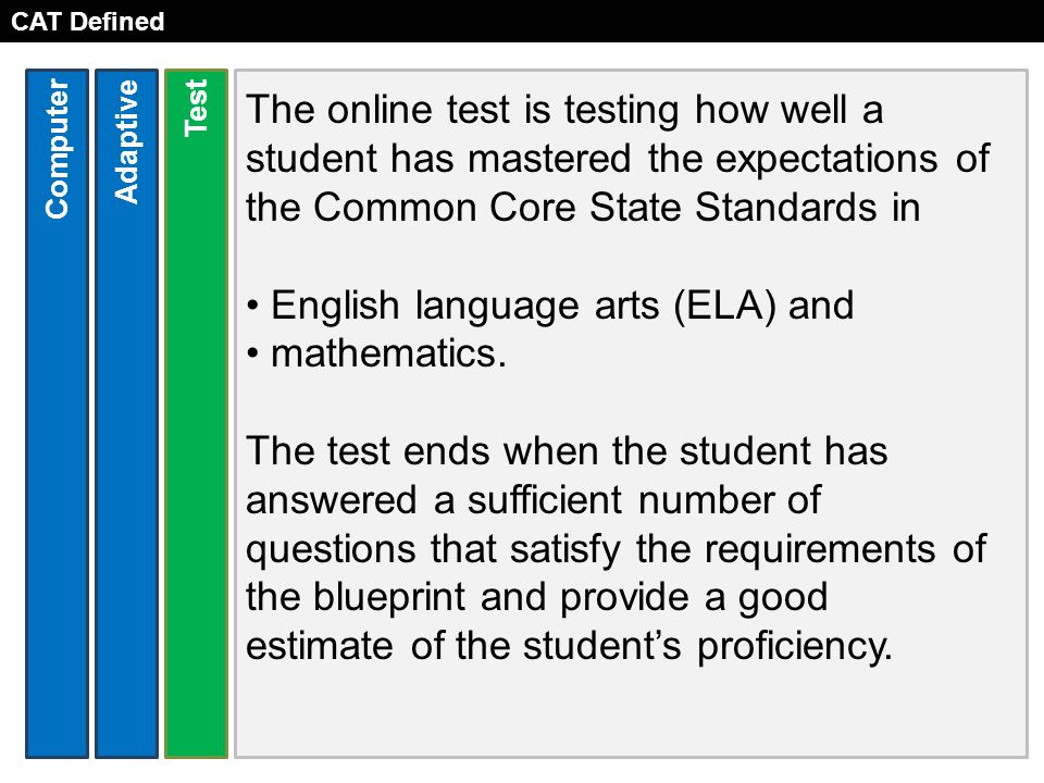 CAT Defined The online test is testing how well a student has mastered the expectations of the Common Core State Standards in English language arts (ELA) and mathematics.