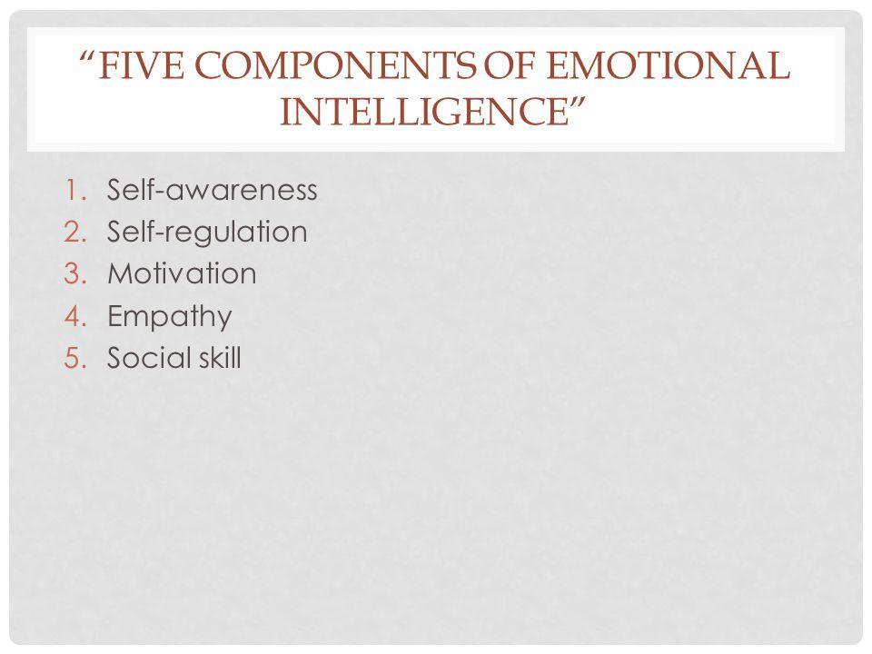 """FIVE COMPONENTS OF EMOTIONAL INTELLIGENCE"" 1.Self-awareness 2.Self-regulation 3.Motivation 4.Empathy 5.Social skill"