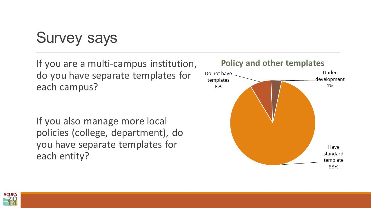 Survey says If you are a multi-campus institution, do you have separate templates for each campus? If you also manage more local policies (college, de