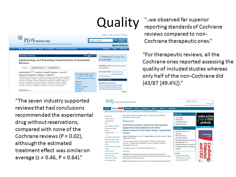 ..we observed far superior reporting standards of Cochrane reviews compared to non- Cochrane therapeutic ones. For therapeutic reviews, all the Cochrane ones reported assessing the quality of included studies whereas only half of the non-Cochrane did (43/87 [49.4%]). The seven industry supported reviews that had conclusions recommended the experimental drug without reservations, compared with none of the Cochrane reviews (P = 0.02), although the estimated treatment effect was similar on average (z = 0.46, P = 0.64). Quality