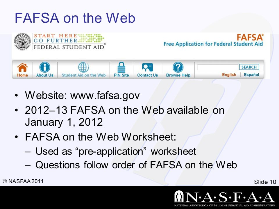 Slide 10 © NASFAA 2011 FAFSA on the Web Website: www.fafsa.gov 2012–13 FAFSA on the Web available on January 1, 2012 FAFSA on the Web Worksheet: –Used as pre-application worksheet –Questions follow order of FAFSA on the Web