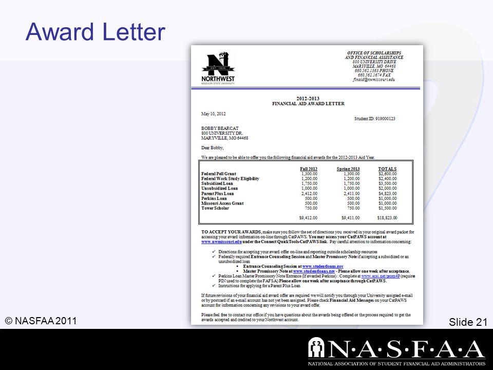 Slide 21 © NASFAA 2011 Award Letter