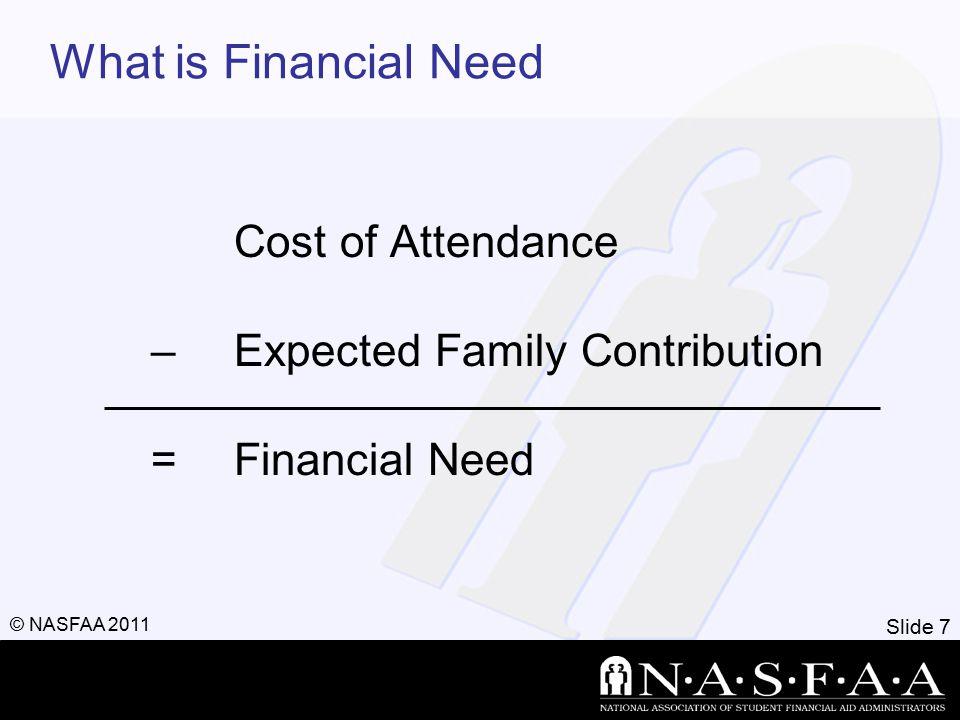 Slide 8 © NASFAA 2011 Types of Financial Aid Scholarships Grants Loans Employment
