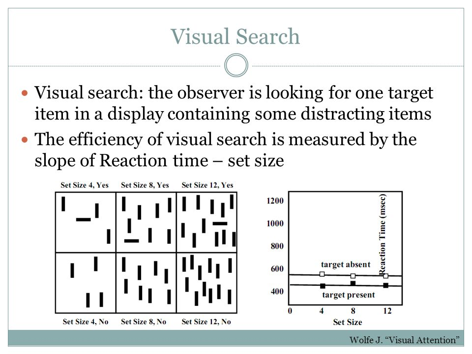 Visual Search Visual search: the observer is looking for one target item in a display containing some distracting items The efficiency of visual search is measured by the slope of Reaction time – set size Wolfe J.