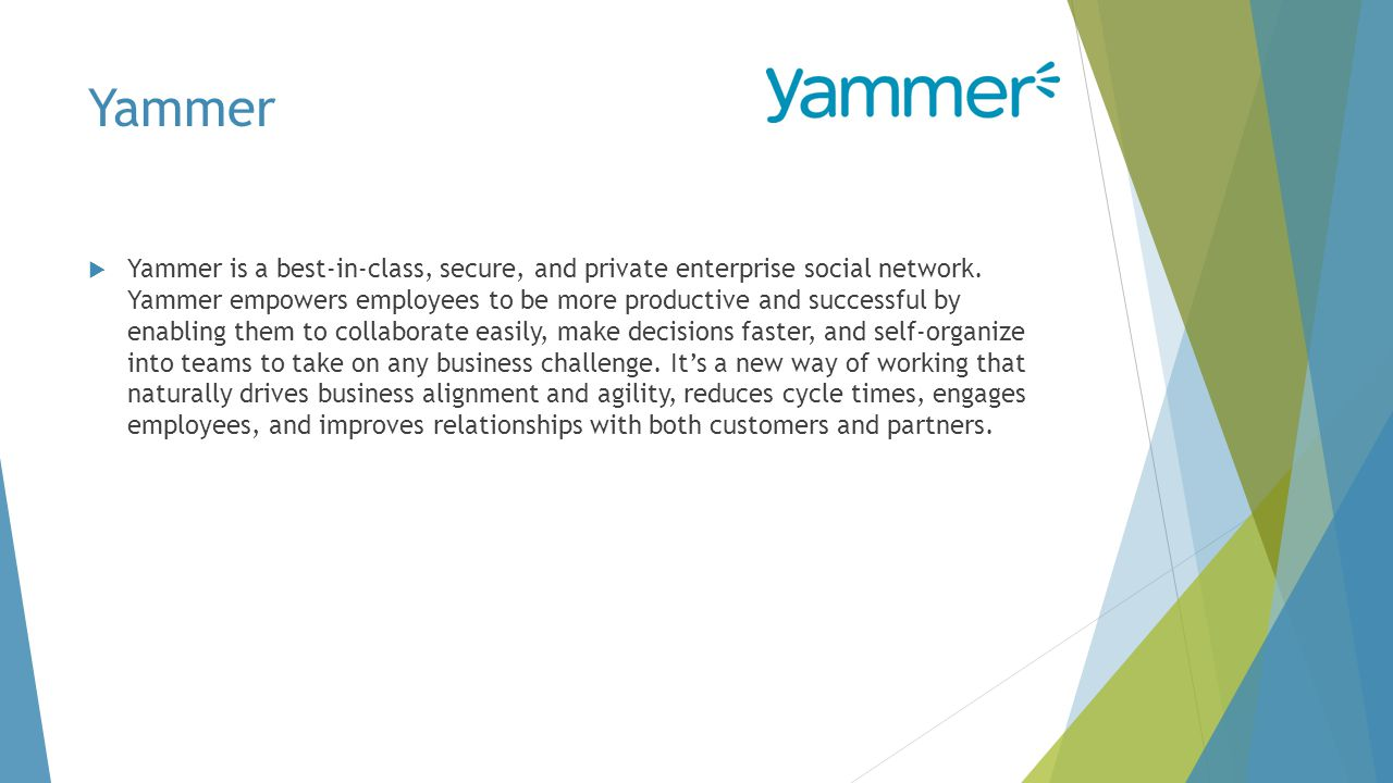 Yammer  Yammer is a best-in-class, secure, and private enterprise social network.
