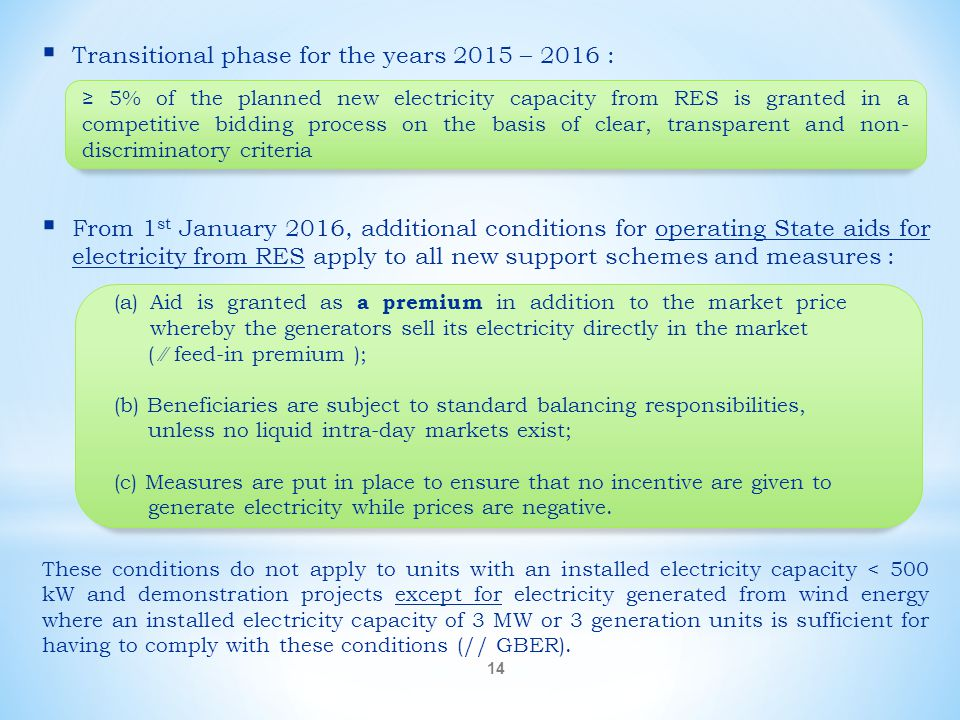  Transitional phase for the years 2015 – 2016 :  From 1 st January 2016, additional conditions for operating State aids for electricity from RES app
