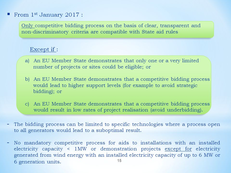  From 1 st January 2017 : Except if : - The bidding process can be limited to specific technologies where a process open to all generators would lead