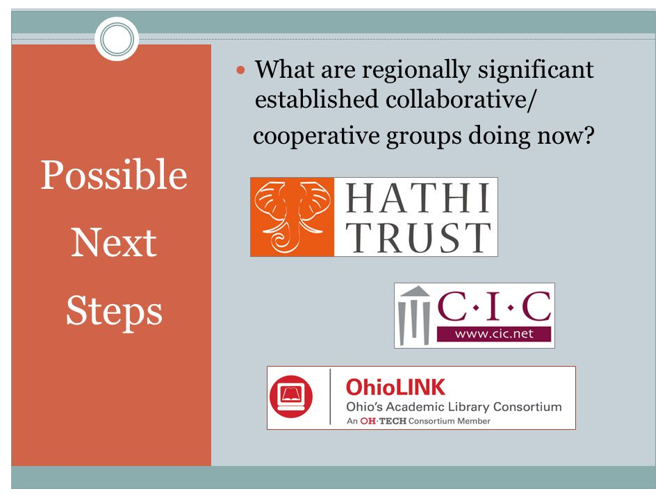Possible Next Steps What are regionally significant established collaborative/ cooperative groups doing now
