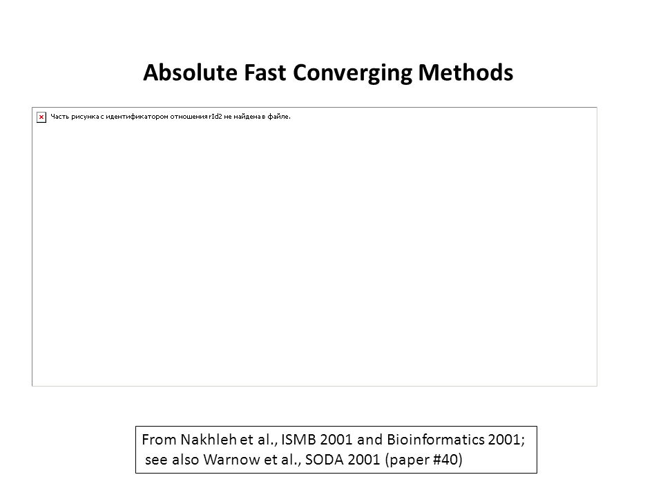 From Nakhleh et al., ISMB 2001 and Bioinformatics 2001; see also Warnow et al., SODA 2001 (paper #40) Absolute Fast Converging Methods