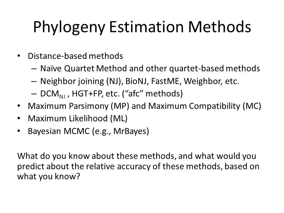 Phylogeny Estimation Methods Distance-based methods – Naïve Quartet Method and other quartet-based methods – Neighbor joining (NJ), BioNJ, FastME, Weighbor, etc.