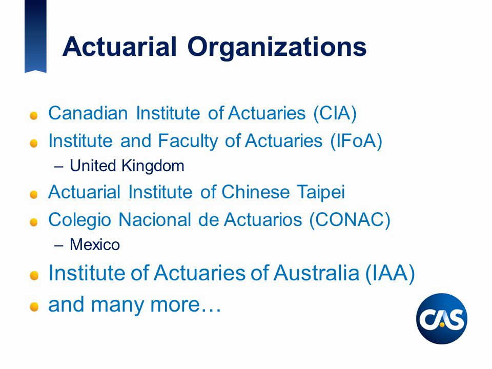 Actuarial Organizations Canadian Institute of Actuaries (CIA) Institute and Faculty of Actuaries (IFoA) –United Kingdom Actuarial Institute of Chinese