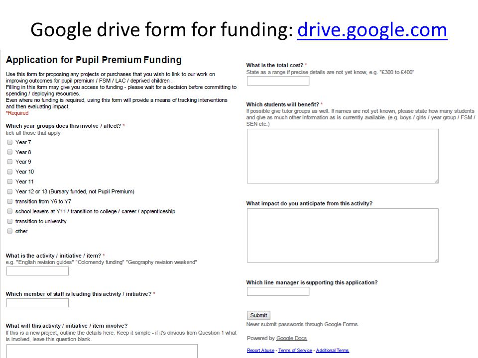 Google drive form for funding: drive.google.comdrive.google.com